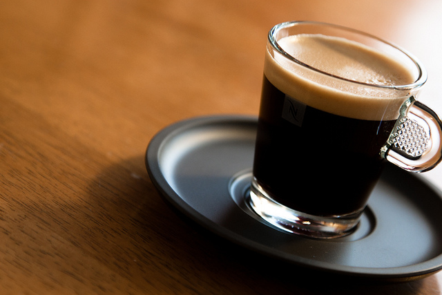 freshly made espresso in glass cup