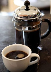 Brewed coffee in French press